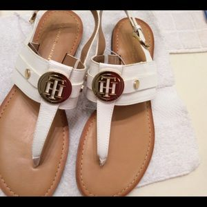 Tommy H.  Sandals. White w/ Logo